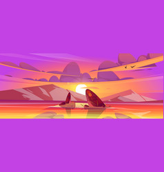 sunset landscape with sea and mountains on horizon vector image