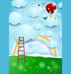 Surreal landscape with ladder and hot air balloons vector