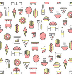 thin line art street food seamless pattern vector image