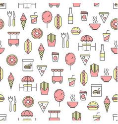 thin line art street food seamless pattern vector image