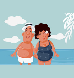 tourist couple hand in hand at beach vector image
