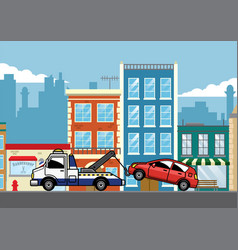 Tow truck pulling car vector