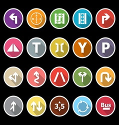 Traffic sign icons with long shadow vector