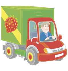 Truck driver delivering goods vector