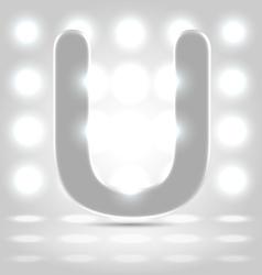 U over lighted background vector
