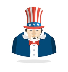 Uncle Sam call center Uncle Sam and headset Symbol vector