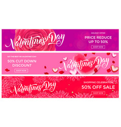 valentines day sale banner design template of vector image