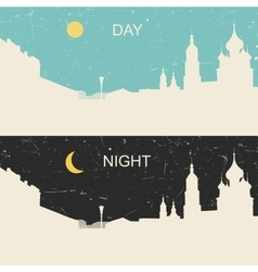View heritage russian city day and night vector