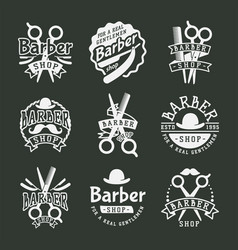 Vintage barber logo retro style haircutter vector