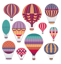 Vintage striped air balloons icons in flat vector