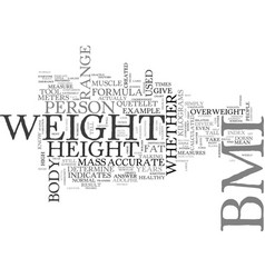 What is bmi how is bmi calculated text word cloud vector