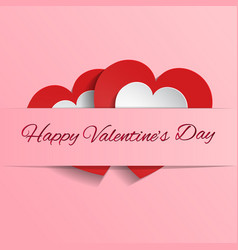 white and red hearts on pink background vector image