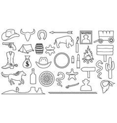 Wild west a thin line icons set vector