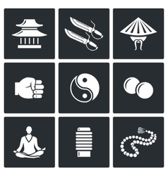 Wing Chun icons vector image