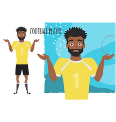 Young black african american football player doubt vector