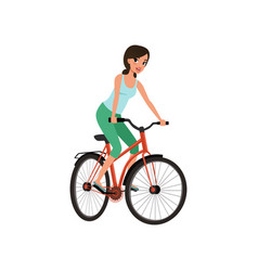 young woman cycling her bike active lifestyle vector image