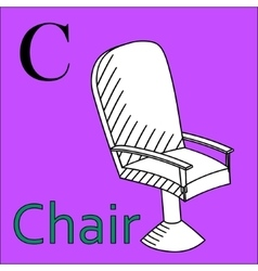 C letter alphabet Coloring book chair vector image