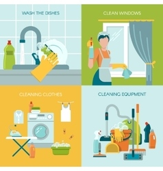 Colored Cleaning Icons Set vector image