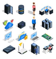 datacenter elements icon set vector image
