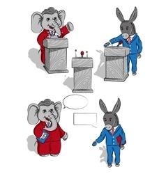 Elefant and donkey vector image