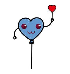 Heart shaped party balloons kawaii character vector
