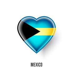 patriotic heart symbol with bahamas flag vector image