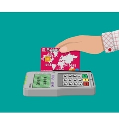 pos terminal and bank card vector image