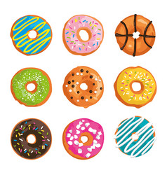 set with bright glazed sweet donuts vector image vector image