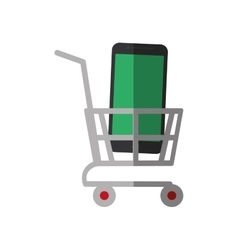 shopping cart online mobile phone display color vector image vector image