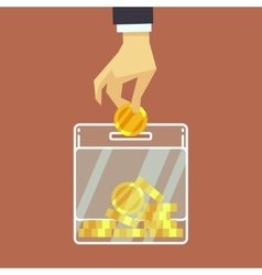 Businessman insert coin into donate box vector image vector image