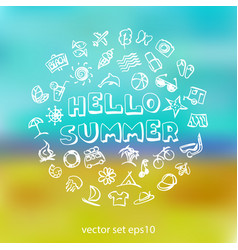 doodle summer icons set vector image