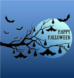 Halloween bats hanging on tree vector image vector image