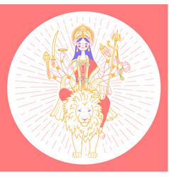 Icon of goddess durga vector