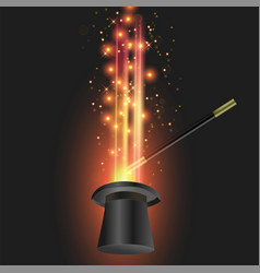 magic wand with black cylinder hat vector image