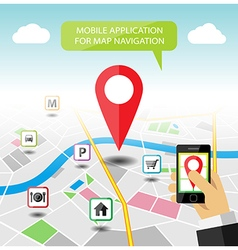 Navigation map mobile application banner vector image