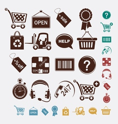 Shopping set of icons vector