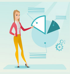 business woman pointing at pie chart vector image
