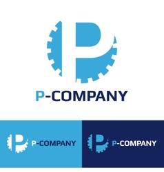 minimalistic blue P letter cog logotype vector image