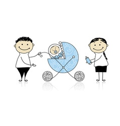 Parents walking with newborn baby in buggy vector image