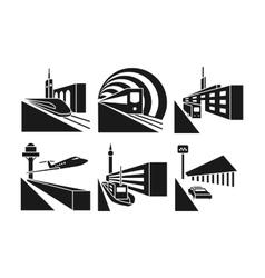 Transportation stations icons set vector image