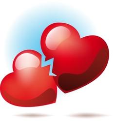 Two broken hearts vector image vector image