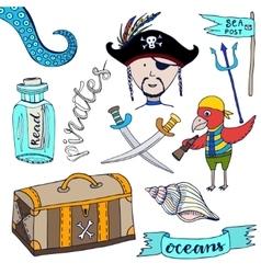Cartoon pirates set Hand drawn kids collection vector image