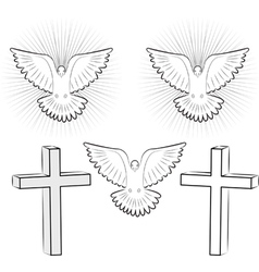 holy ghost and cross vector image vector image