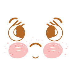 Kawaii sad face with cheeks and mouth vector