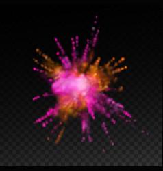 multicolored explosive cloud of powder dye vector image vector image