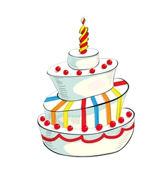 of cake with candle vector image