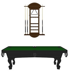 Pool table and rack vector image vector image