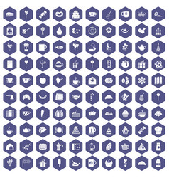 100 tea party icons hexagon purple vector image