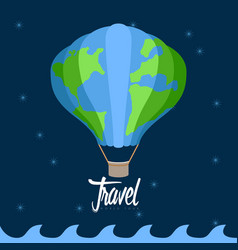 Air ballon flying at night travel concept vector