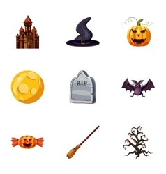 All saints day icons set cartoon style vector